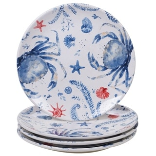 Certified International Nautical Life Crab Dinner Plates, Set of 4