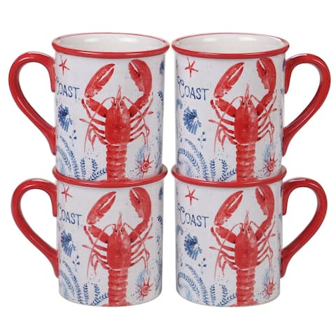 Certified International Nautical Life Lobster Mugs, Set of 4