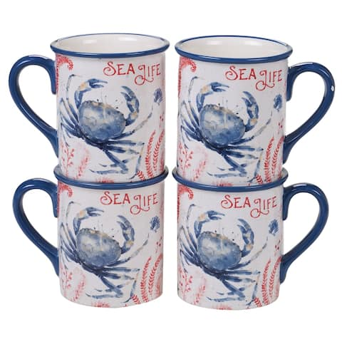 Certified International Nautical Life Crab Mugs, Set of 4