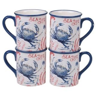 Certified International Nautical Life Crab Mugs, Set of 4