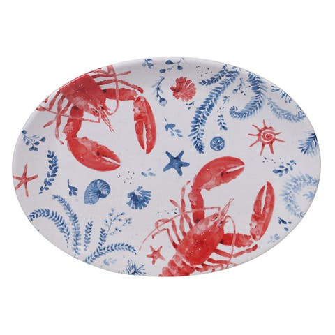 Certified International Nautical Life Lobster Oval Platter