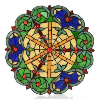 Cassia Multicolored 14-inch Stained Glass Accent Panel With Stand