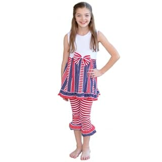 AnnLoren Girls 4th of July Patriotic Stars & Stripes Holiday Outfit