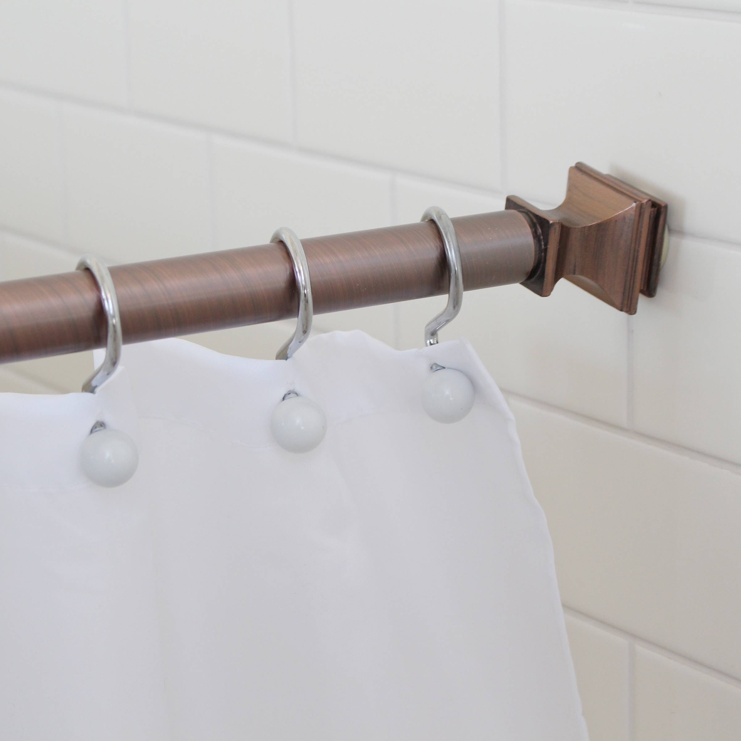 Splash Home Kare Decorative Shower Curtain Rod Extendable 42 72 Bronze