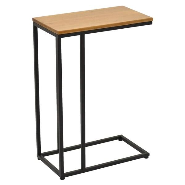 """26 """" Brown Metal Metal With Wood Top C Table"""