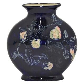 "12"" h Blue Ceramic Vase by Three Hands"