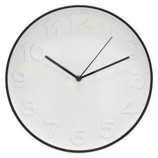"12"" h White Wall Clock by Three Hands"