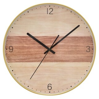 "12"" h Brown Wall Clock by Three Hands"
