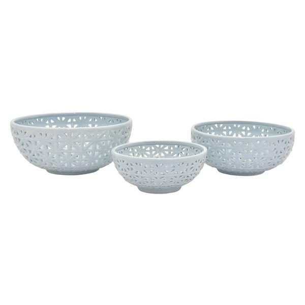 "5.75"" h Blue Ceramic Pierced Bowl S/3 by Three Hands"