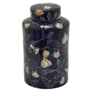 "16"" h Blue Ceramic Jar by Three Hands"