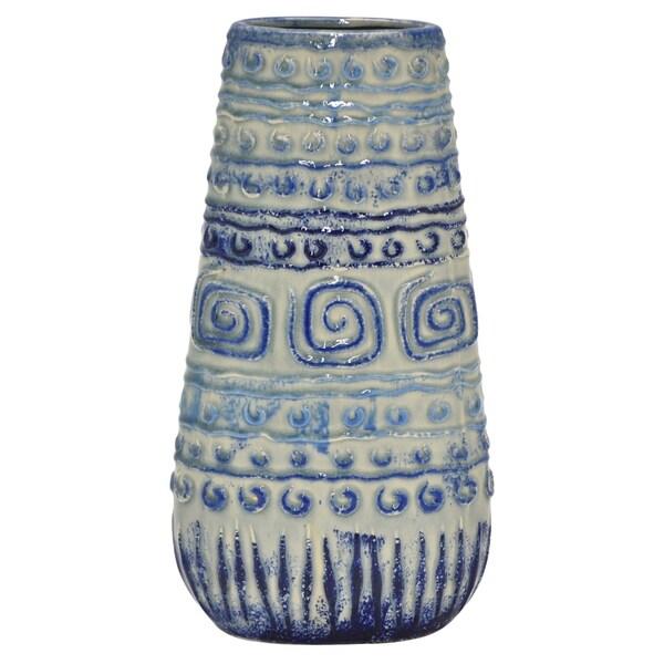 "13.75"" h Blue Ceramic Vase by Three Hands"