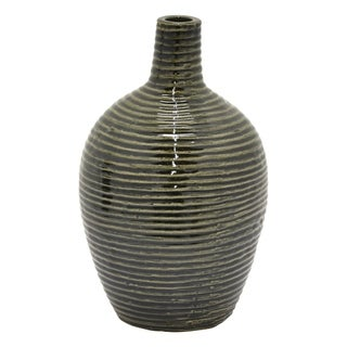 "13.75"" h Green Ceramic Vase  by Three Hands"