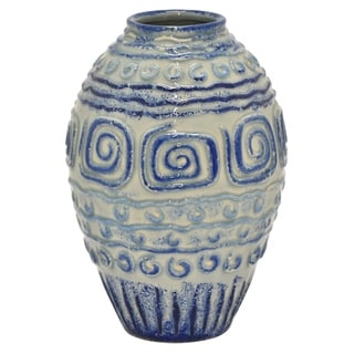 "10.5"" h Blue Ceramic Vase by Three Hands"