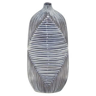 "15"" h Blue Ceramic Vase by Three Hands"