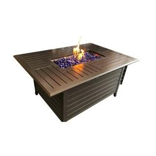 South Beach Rectangular Fire Pit Table w/ 17lb Fireglass Rocks