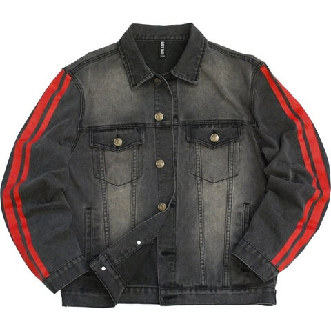 Mens Stripe Printed Denim Jacket