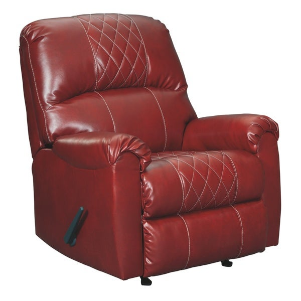 Signature Design by Ashley Betrillo Salsa Red Faux Leather Recliner