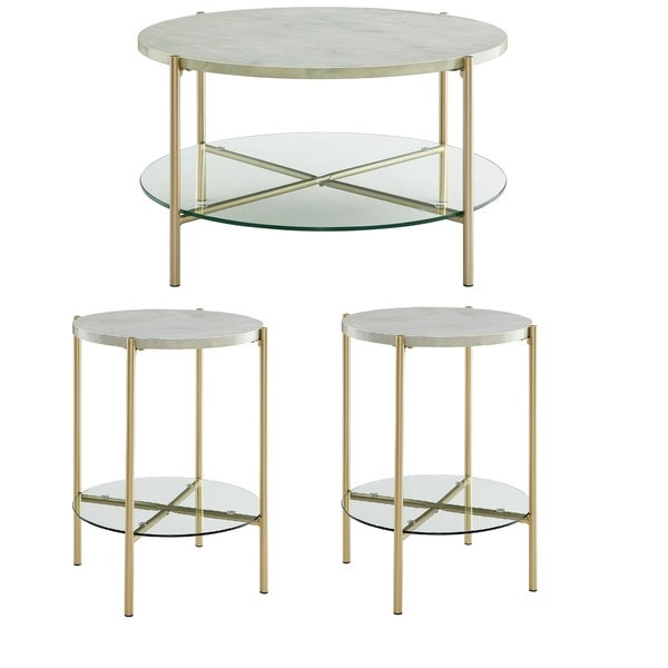 Silver Orchid Howell 3-piece Round Faux Marble Table Set - 32 x 32 x 17h