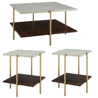 Silver Orchid Madsen 3-piece Square Faux Marble Table Set - 32 x 32 x 17h