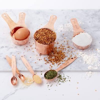 S/4 Solid Copper Measuring Cups and S/4 Measuring Spoons