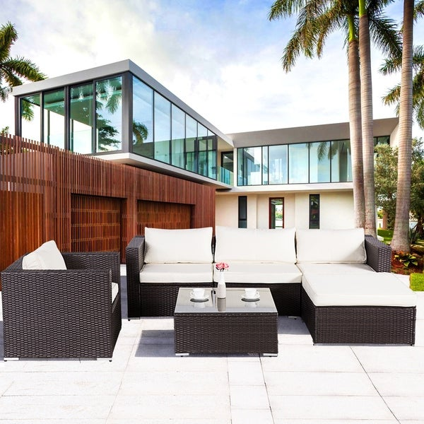 Outdoor Wicker Sectional Sofa For Sale: Shop Lucia 6-Piece Outdoor Wicker Sectional Sofa Set