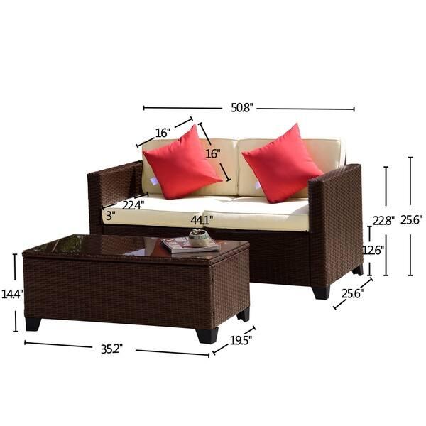 Bianca 2 Piece Outdoor Wicker Loveseat Sofa Set Overstock 27173298