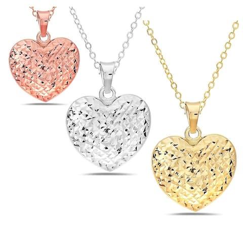 14K Solid gold diamond cut heart pendant