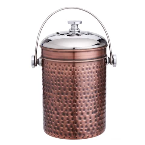 Hammered Antique Copper Compost Bin with 3 Charcoal Filters, 4 Qt.