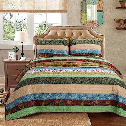 Cozy Line Belinda 3-Piece Stripe Reversible Cotton Quilt Set - Blue/Green/Yellow - Blue/Green/Yellow