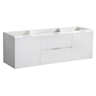 "Fresca Valencia 60"" Glossy White Wall Hung Single Sink Modern Bathroom Cabinet"