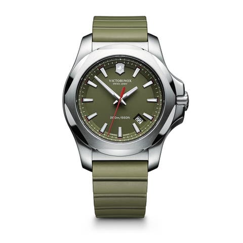 Victorinox Swiss Army Men's 241683.1 'Inox' Green Dial Green Rubber Strap Automatic Watch