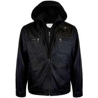 Men's Hooded Racing Leather Jacket