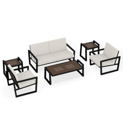 Elan Furniture Vero Outdoor 6 Piece Loveseat Conversation Set - Birds Eye Sunbrella Cushions