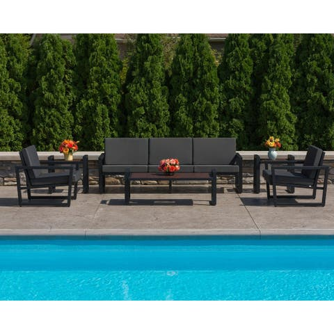 Elan Furniture Vero Outdoor 6 Piece Loveseat Conversation Set - Coal Sunbrella Cushions