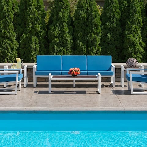 Elan Furniture Vero Outdoor Sofa - Sky Blue Canvas Cushions