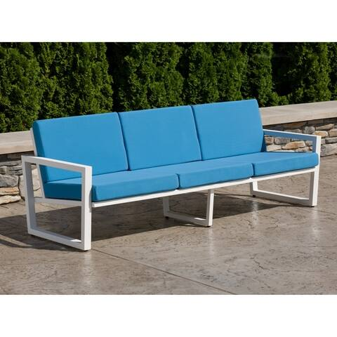 Elan Furniture Vero Outdoor Sofa - Sky Blue Canvas Cushions