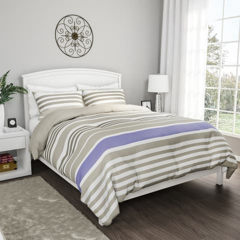 3-Piece Comforter Set- Hypoallergenic Polyester Microfiber Seaside Lavender Striped Down Blanket with Shams by Windsor Home