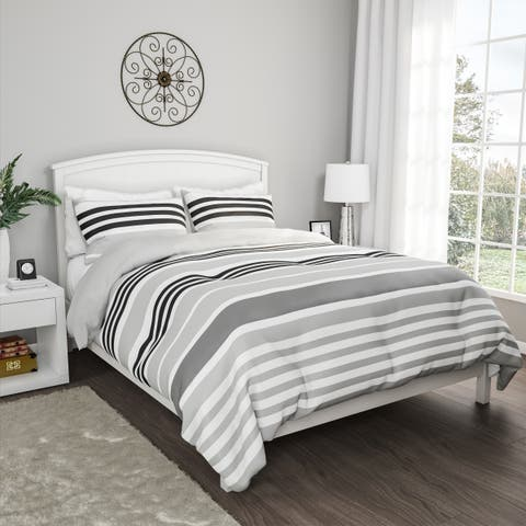 3-Piece Comforter Set- Hypoallergenic Polyester Microfiber Seaside Dawn Striped Down Blanket with Shams by Windsor Home