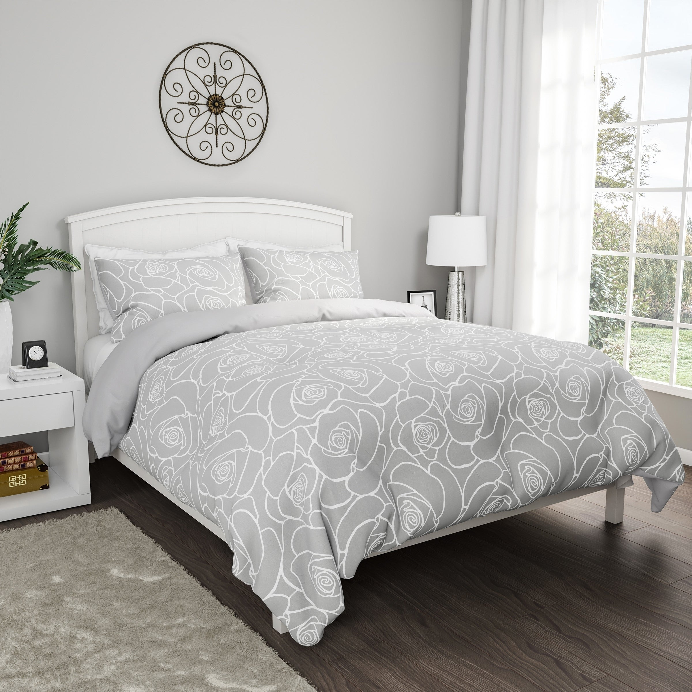 3 Piece Comforter Set Hypoallergenic Polyester Microfiber Bed Of Roses Floral Print Down Blanket With Shams By Windsor Home On Sale Overstock 27175662