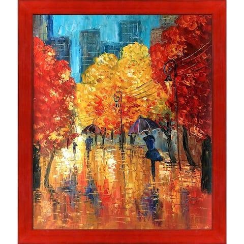 Justyna Kopania 'Autumn (Umbrellas)' Hand Painted Oil Reproduction