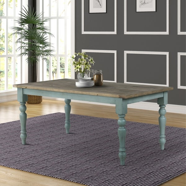 Shop Prato Blue And Brown Two Tone Finish Wood Dining