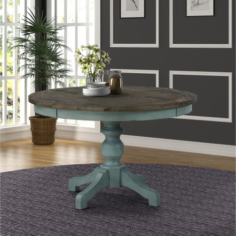 Prato Round Blue and Brown Two-Tone Finish Wood Dining Table - N/A