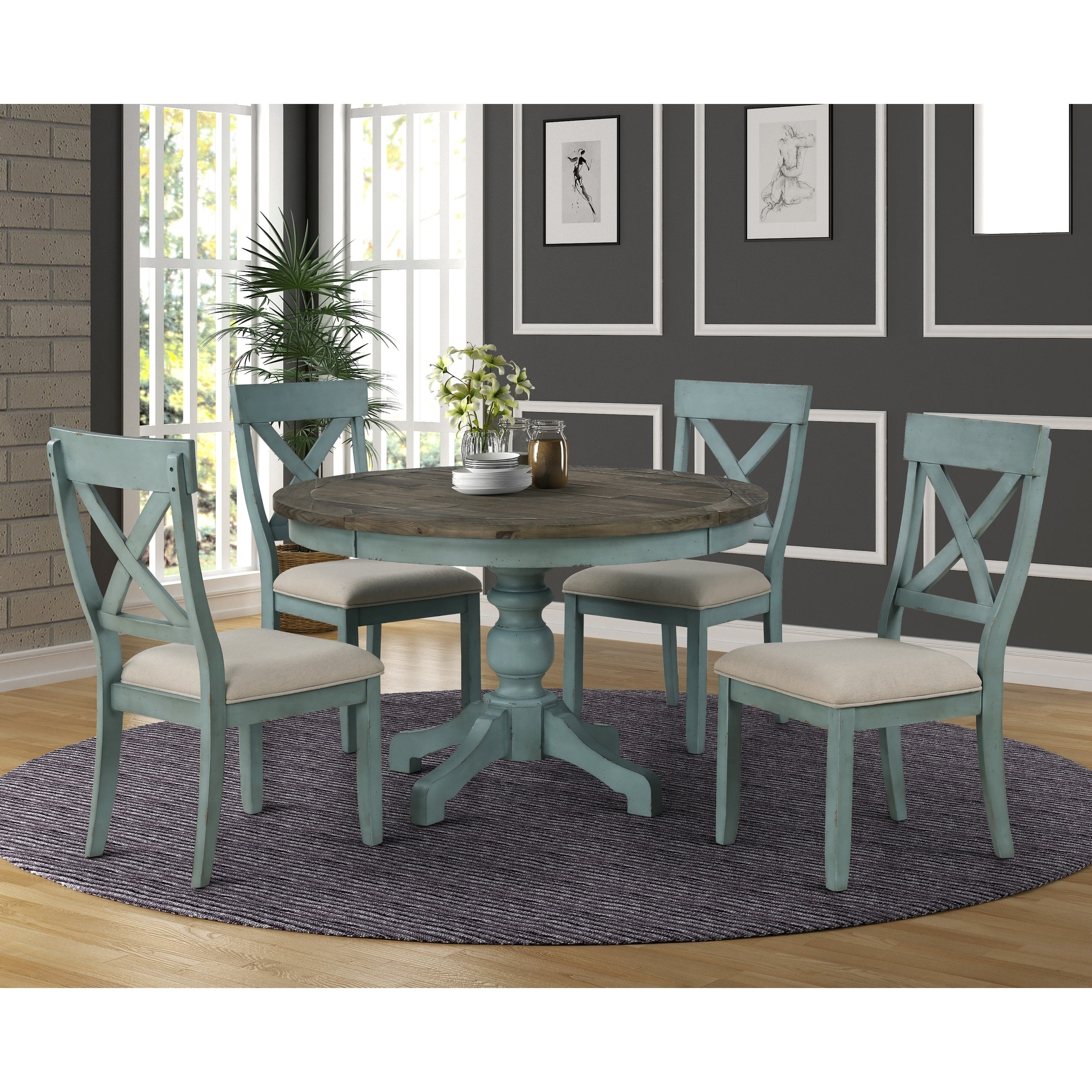Prato Round Blue And Brown Two Tone Finish Wood Dining Table N A