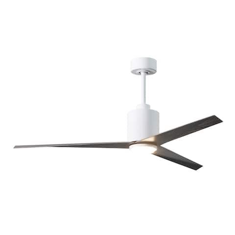 Matthews Fan Eliza-LK 3-blade Gloss White Paddle Fan with Frosted Glass Light Kit - Old Oak Blades