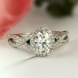 Auriya Infinity 1ct Oval Moissanite and 1/5ctw Diamond Halo Engagement Ring 14k Gold