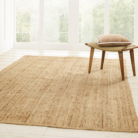 Miranda Haus Hand-Woven Braided Natural Fibers Reversible Jute Area Rug