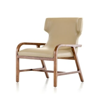 HomeRoots Furniture Modern Taupe Leatherette Accent Chair with Walnut-finished Ash Wood Frame (As Is Item)