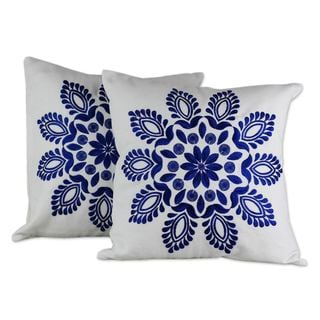 Handmade Set of 2 Cotton 'Blue Delhi Splendor' Cushion Covers (India) (As Is Item)