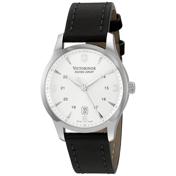 5c588bb0b Shop Victorinox Swiss Army Men's 249034 'Alliance' Silver Dial Black Leather  Strap Swiss Quartz Watch - Free Shipping Today - Overstock - 27175796