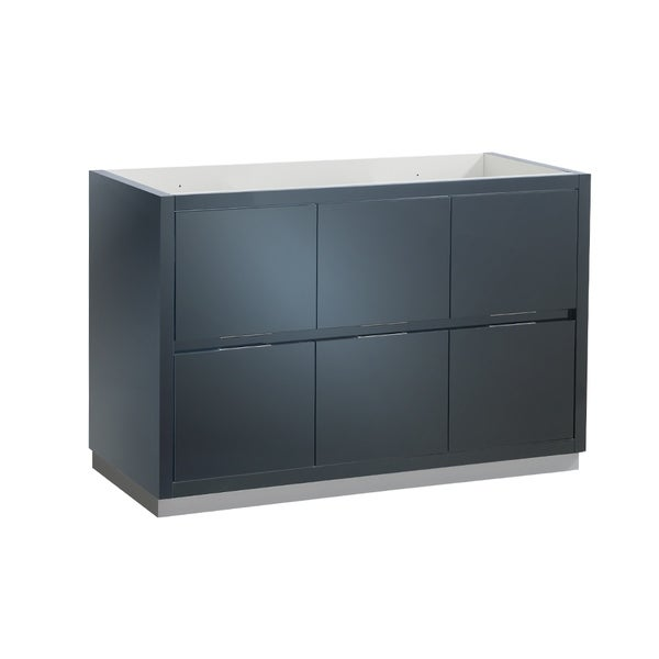 "Fresca Valencia 48"" Dark Slate Gray Free Standing Double Sink Modern Bathroom Cabinet - Silver"